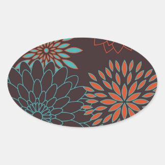 Blue Orange and Brown Modern Flowers Oval Sticker