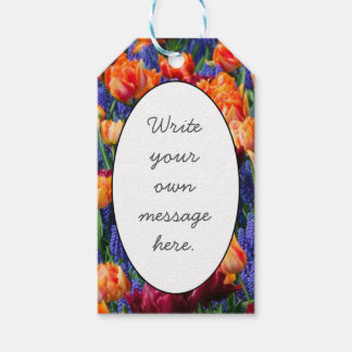Blue, Orange and Red Flowers Gift Tags