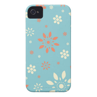 Blue Orange and White Flowers Pattern Case-Mate iPhone 4 Case