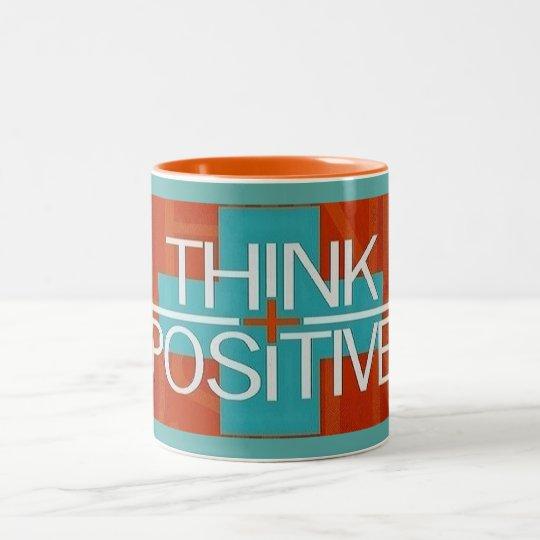 Blue Orange and White Think Positive Mug