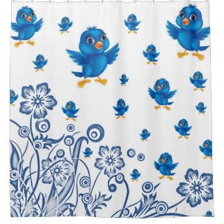 blue orange bird childrens showercurtain white shower curtain