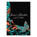 Blue orange black butterfly sparkle personalized invite