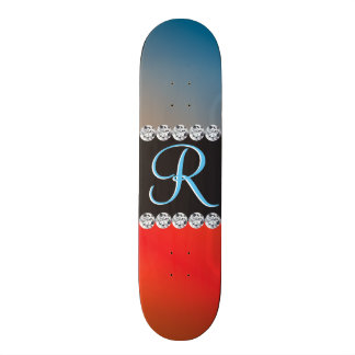 Blue Orange Black Diamond 3d Monogram Initial 20 Cm Skateboard Deck