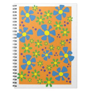 Blue/Orange Button Flowers Spiral Note Books