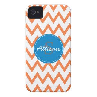 Blue, Orange Chevron monogram iPhone 4/4s Case-Mate iPhone 4 Cases