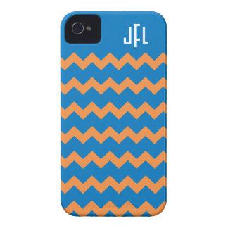 Blue & Orange Chevron Monogrammed iPhone 4/4s iPhone 4 Case-Mate Case