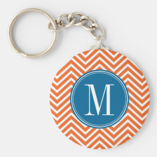 Blue & Orange Chevron Pattern with Monogram Key Ring