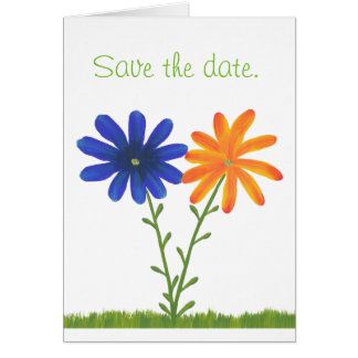 Blue Orange Daisy Flowers Save the Date Note Cards