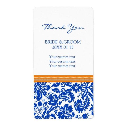 Blue Orange Damask Pattern Wedding Labels