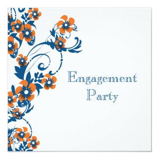 Blue orange engagement wedding PERSONALIZE 13 Cm X 13 Cm Square Invitation Card