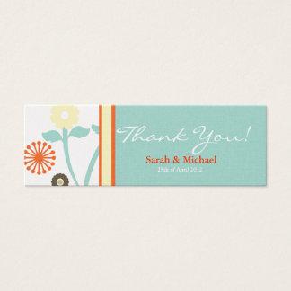Blue & Orange floral Wedding favor Gift tag
