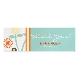 Blue & Orange floral Wedding favor Gift tag Pack Of Skinny Business Cards