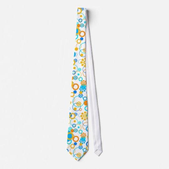Blue orange flowers tie