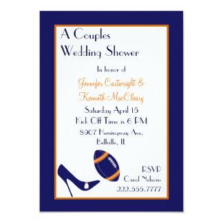 Blue & Orange Football Couples Wedding Shower 5x7 Paper Invitation Card