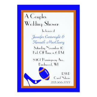 Blue & Orange Football Wedding Shower Invitation