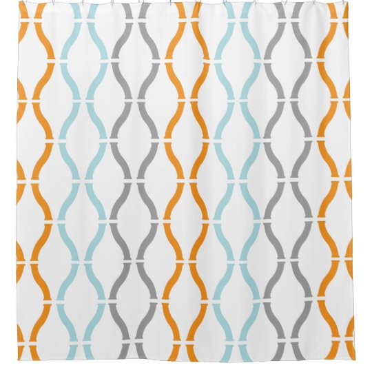 Blue Orange Grey Modern Geometric Funky Pattern Shower Curtain