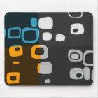 Blue, Orange, Grey Retro Abstract Art Mouse Mat