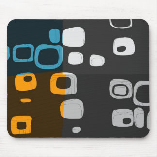 Blue, Orange, Grey Retro Abstract Art Mouse Mat