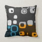 Blue, Orange, Grey Retro Abstract Art Pillow