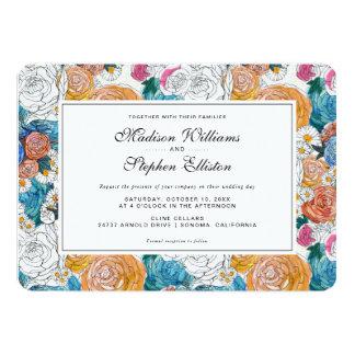 Blue & Orange Hand Painted Flowers - Wedding Card