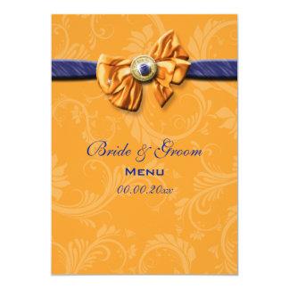 Blue orange menu wedding party CUSTOM 13 Cm X 18 Cm Invitation Card