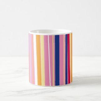 Blue Orange on Pink Stripes Basic White Mug