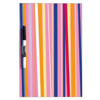 Blue Orange on Pink Stripes Dry Erase Board