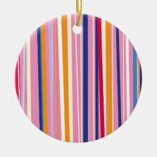Blue Orange on Pink Stripes Round Ceramic Decoration