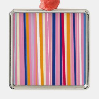 Blue Orange on Pink Stripes Silver-Colored Square Decoration