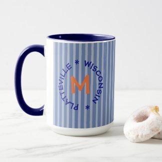 Blue Orange P-Vegas Platteville Wisconsin Mug