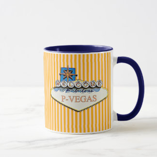 Blue Orange P-Vegas Platteville Wisconsin Mug
