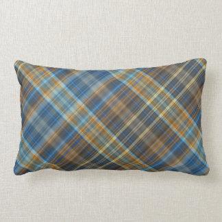 Blue orange plaid lumbar cushion