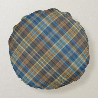 Blue orange plaid round cushion