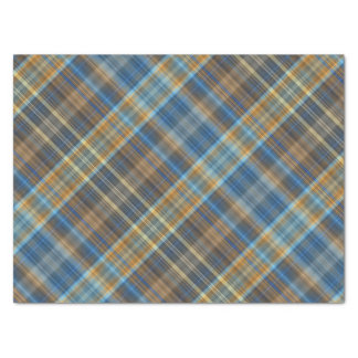 Blue orange plaid tissue paper