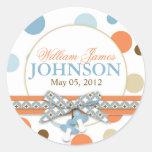 Blue & Orange Polka Dots Announcement Round Sticker