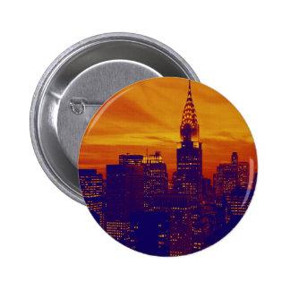 Blue Orange Pop Art New York City Pinback Button