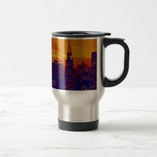 Blue Orange Pop Art New York City Coffee Mugs