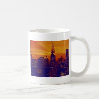 Blue Orange Pop Art New York City Mug