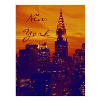 Blue Orange Pop Art New York Script Postcard