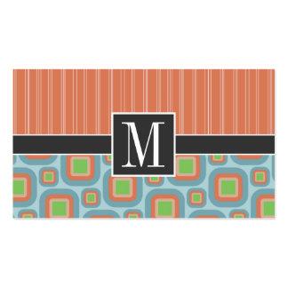 Blue & Orange Retro Pattern Business Cards