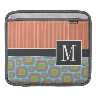 Blue & Orange Retro Pattern iPad Sleeves