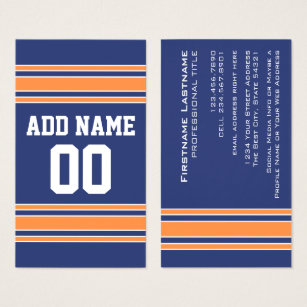 Jersey business cards business card printing zazzle uk blue orange sports jersey with name and number business card reheart Images