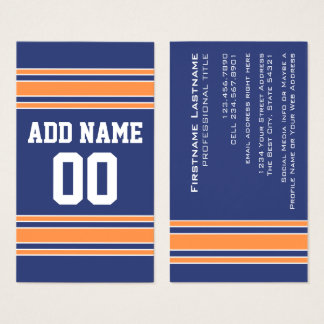 Blue Orange Sports Jersey with Name and Number Business Card