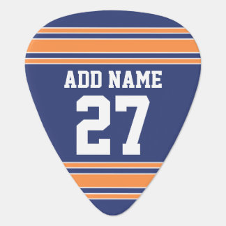 Blue Orange Sports Jersey with Your Name & Number Guitar Pick