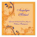 Blue orange wedding anniversary engagement 13 cm x 13 cm square invitation card