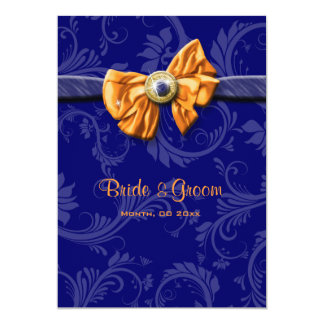 Blue orange wedding floral CUSTOM 13 Cm X 18 Cm Invitation Card