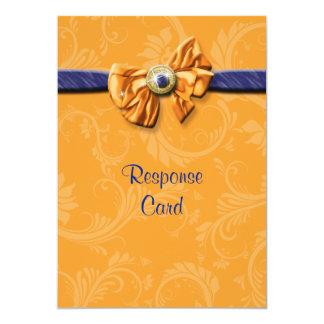 Blue orange wedding rsvp response 13 cm x 18 cm invitation card