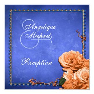 Blue orange wedding vintage reception 5.25x5.25 square paper invitation card