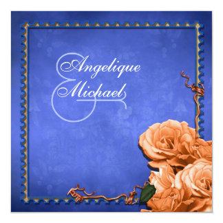 Blue orange wedding vintage rose 5.25x5.25 square paper invitation card