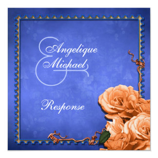 Blue orange wedding vintage rsvp response 5.25x5.25 square paper invitation card